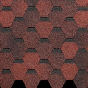 Гибкая черепица EURASIA, ШЕСТИГРАННИК, Красный